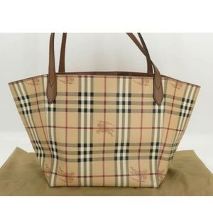 💯 AUTH BURBERRY PVC LEATHER CHECK TOTE BAG